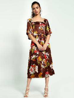 Closet Drama Satin Floral Print Midi Dress