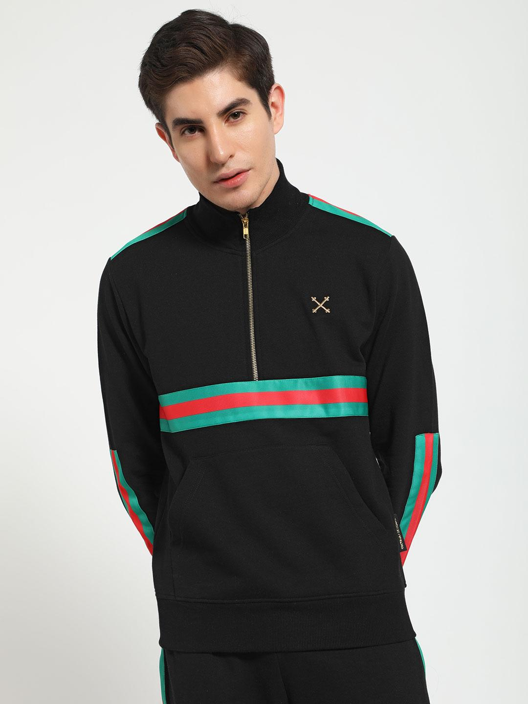 Tiktauli Black Contrast Tape Zip-Up Sweatshirt 1