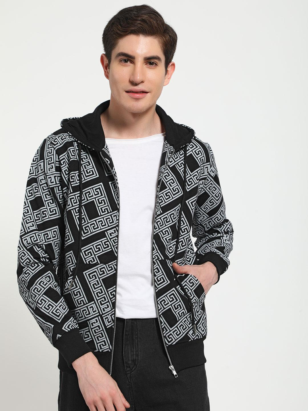 Tiktauli Multi Geometric Print Hooded Sweat Jacket 1