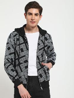 Tiktauli Geometric Print Hooded Sweat Jacket