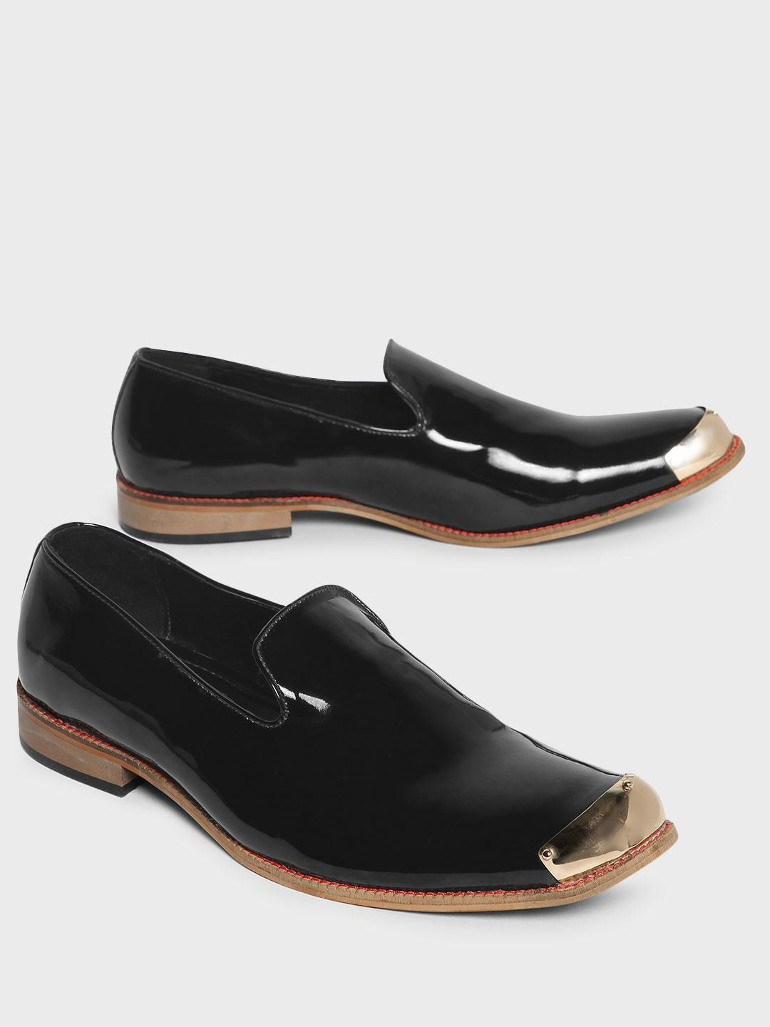Bolt Of The Good Stuff Black Metal Trim Patent Loafers 1