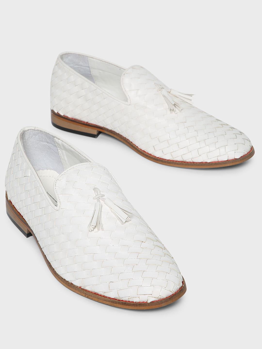 Bolt Of The Good Stuff White Handwoven Tassel Loafers 1