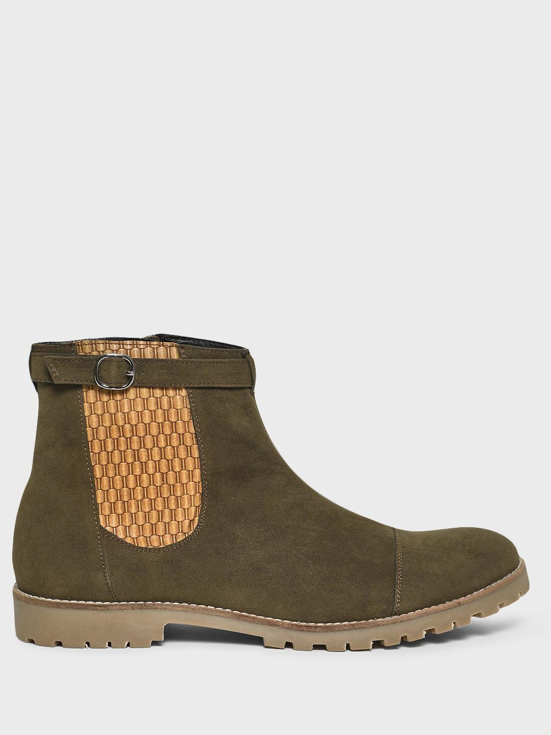 Bolt Of The Good Stuff Green Textured Panel Suede Boots 1