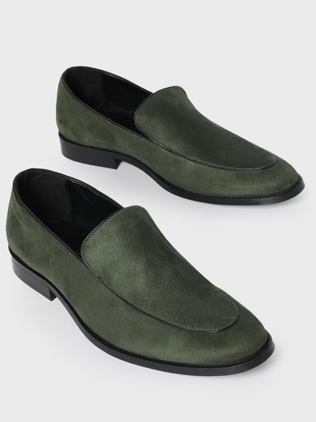 KOOVS Olive Suede Finish Piped Loafers 1