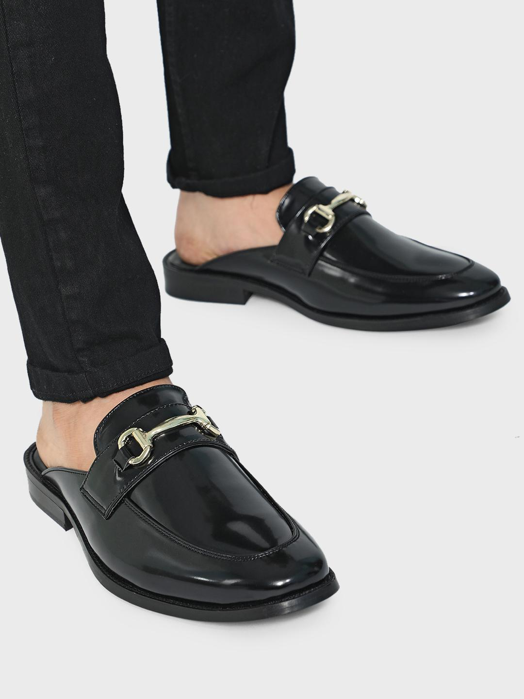 KOOVS Black Patent Finish Horsebit Loafers 1
