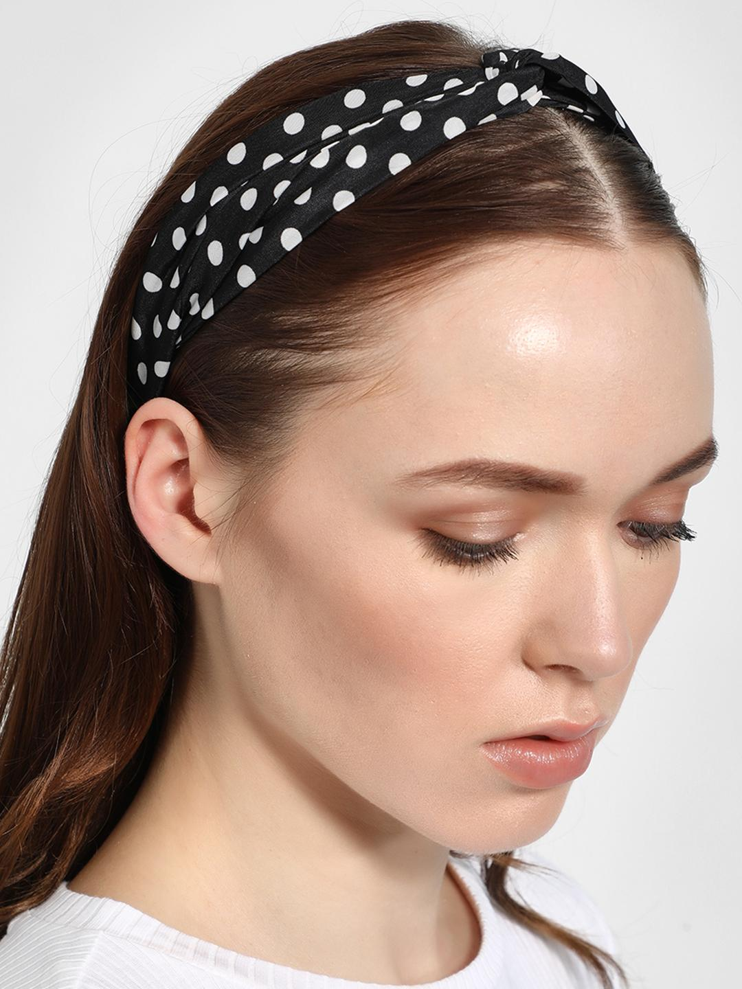 Funky Fish Black Polka Dot Twist-Knot Headband 1