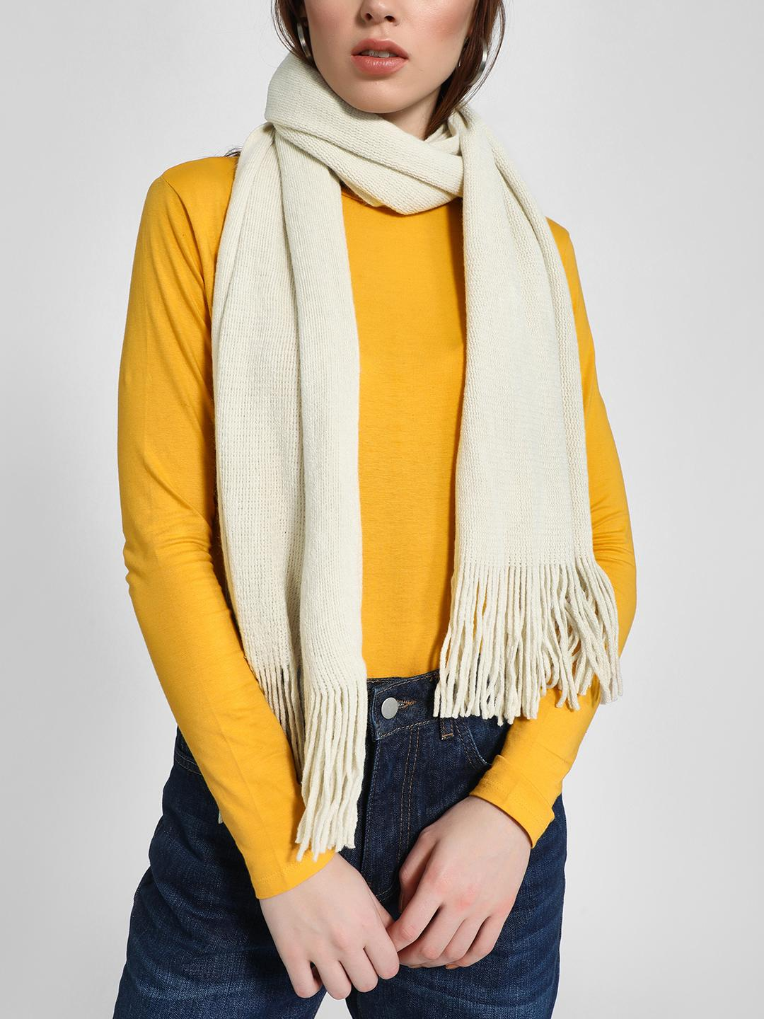 Funky Fish White Woven Fringed Scarf 1