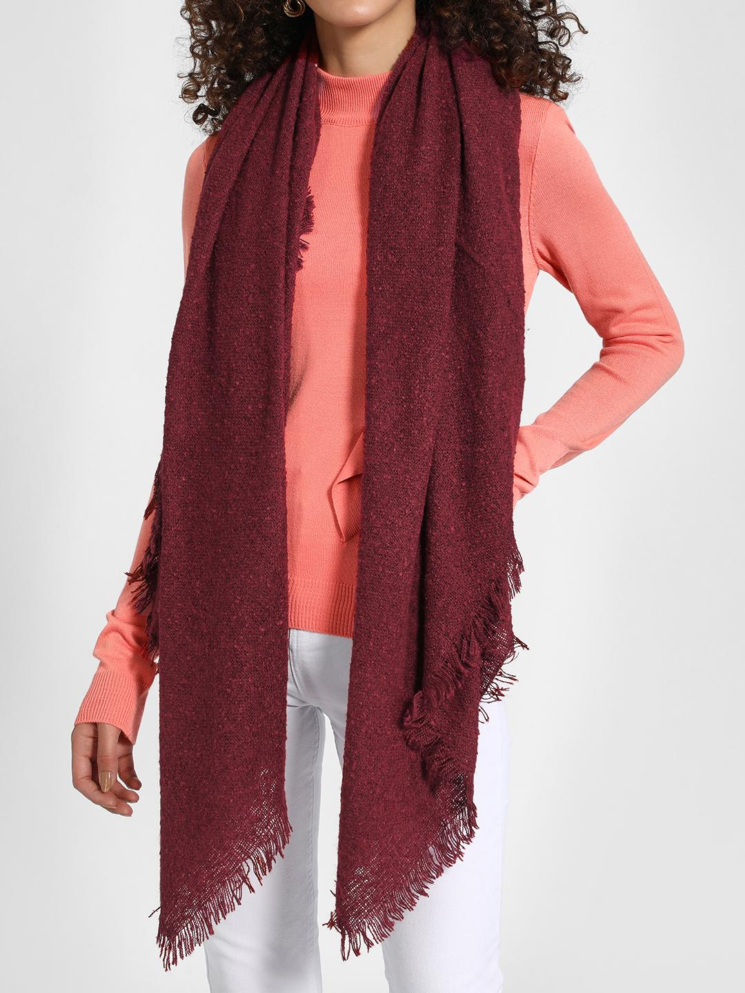 Funky Fish Maroon Woven Fringed Scarf 1