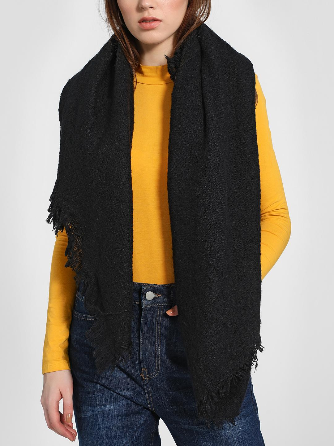Funky Fish Black Woven Fringed Scarf 1