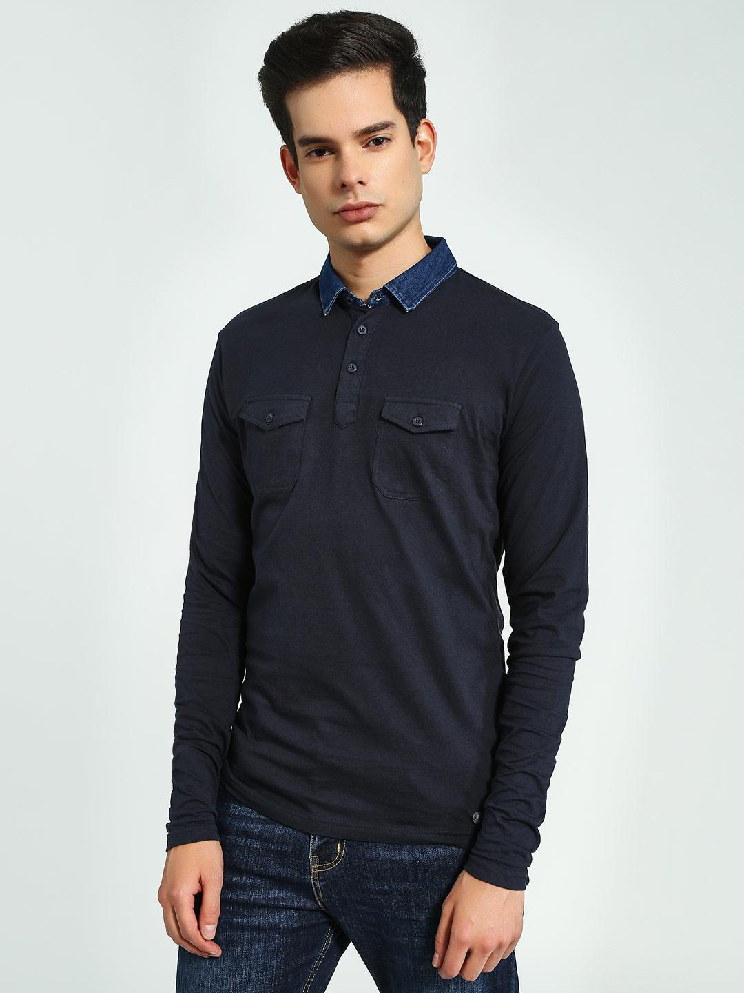 Brave Soul Navy Long Sleeve Polo Shirt 1