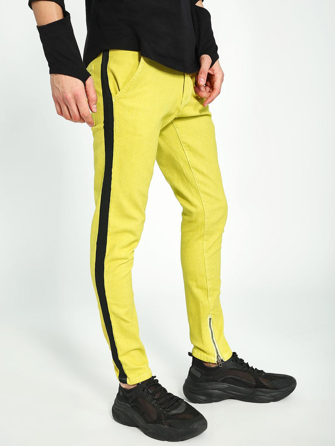 Kultprit Yellow Side Tape Zippered Hem Skinny Jeans 1