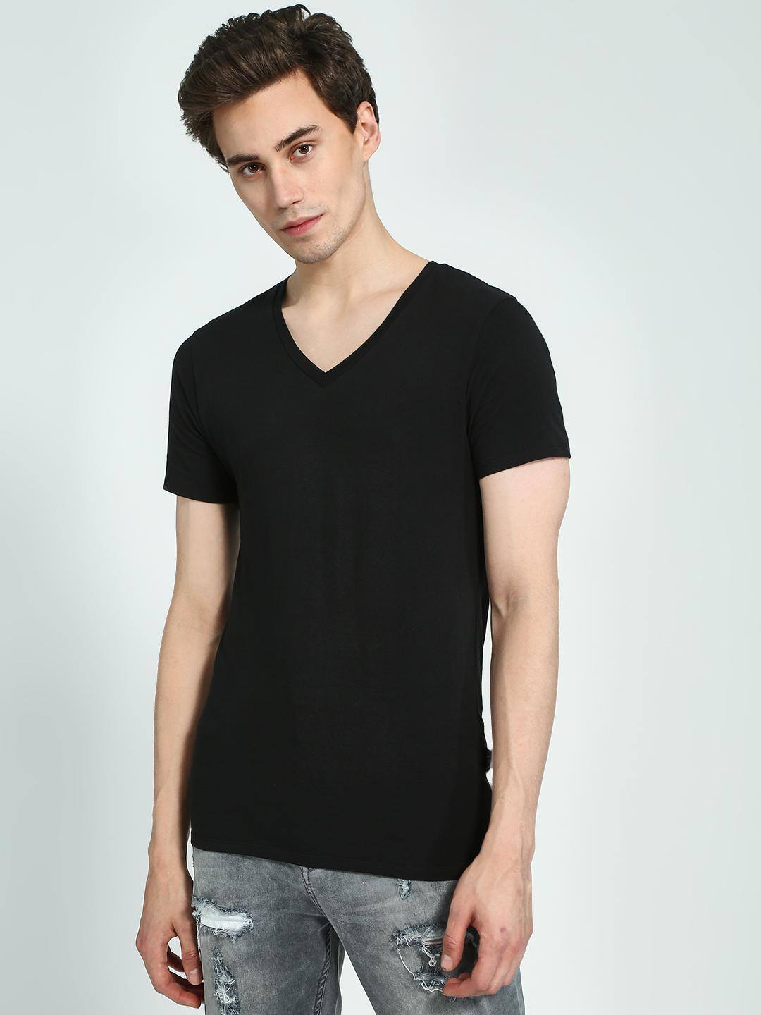 KOOVS Black V-Neck Muscle Fit T-Shirt 1