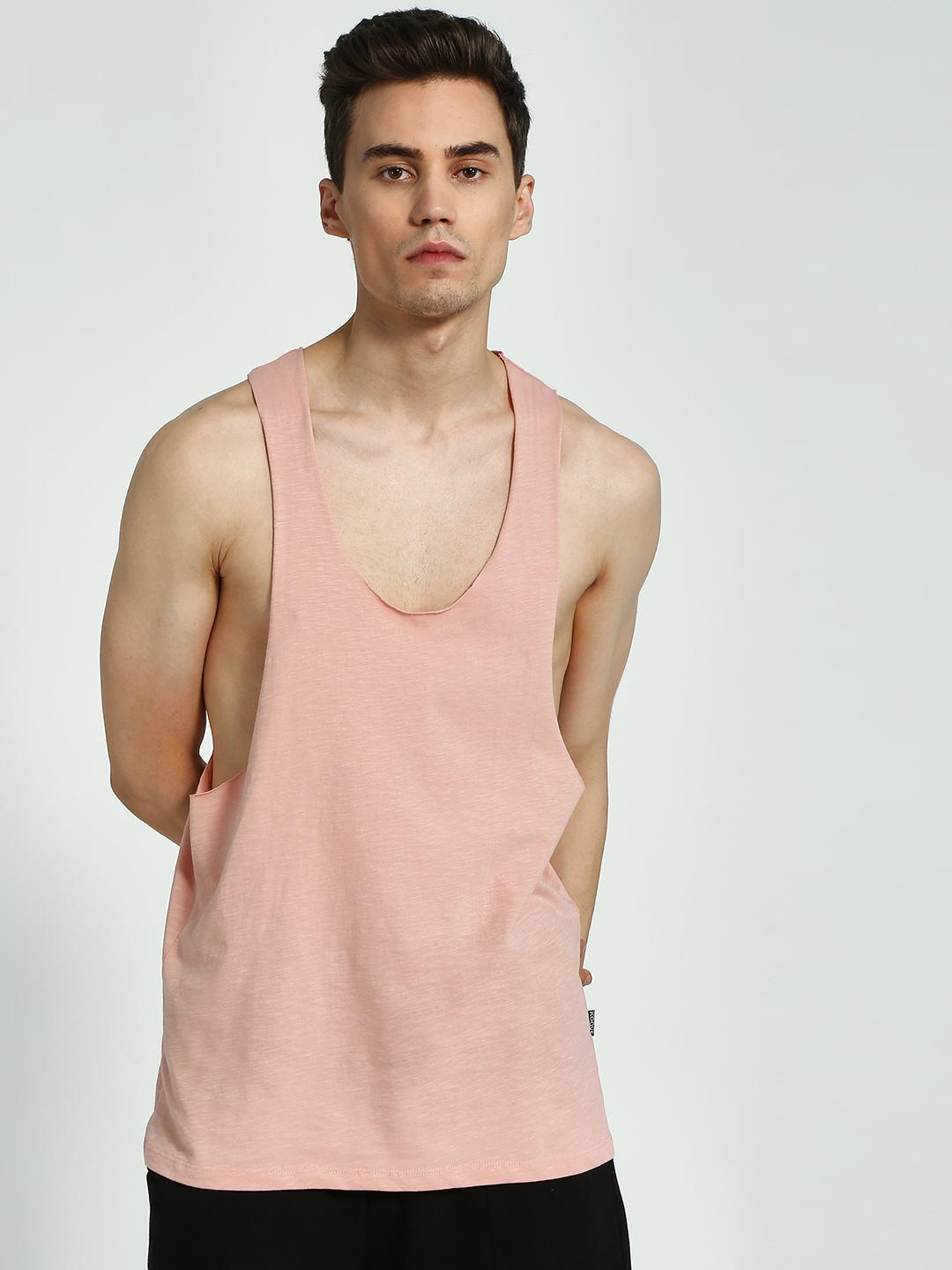 KOOVS Pink Raw Edge Scoop Neck Racerback Vest 1
