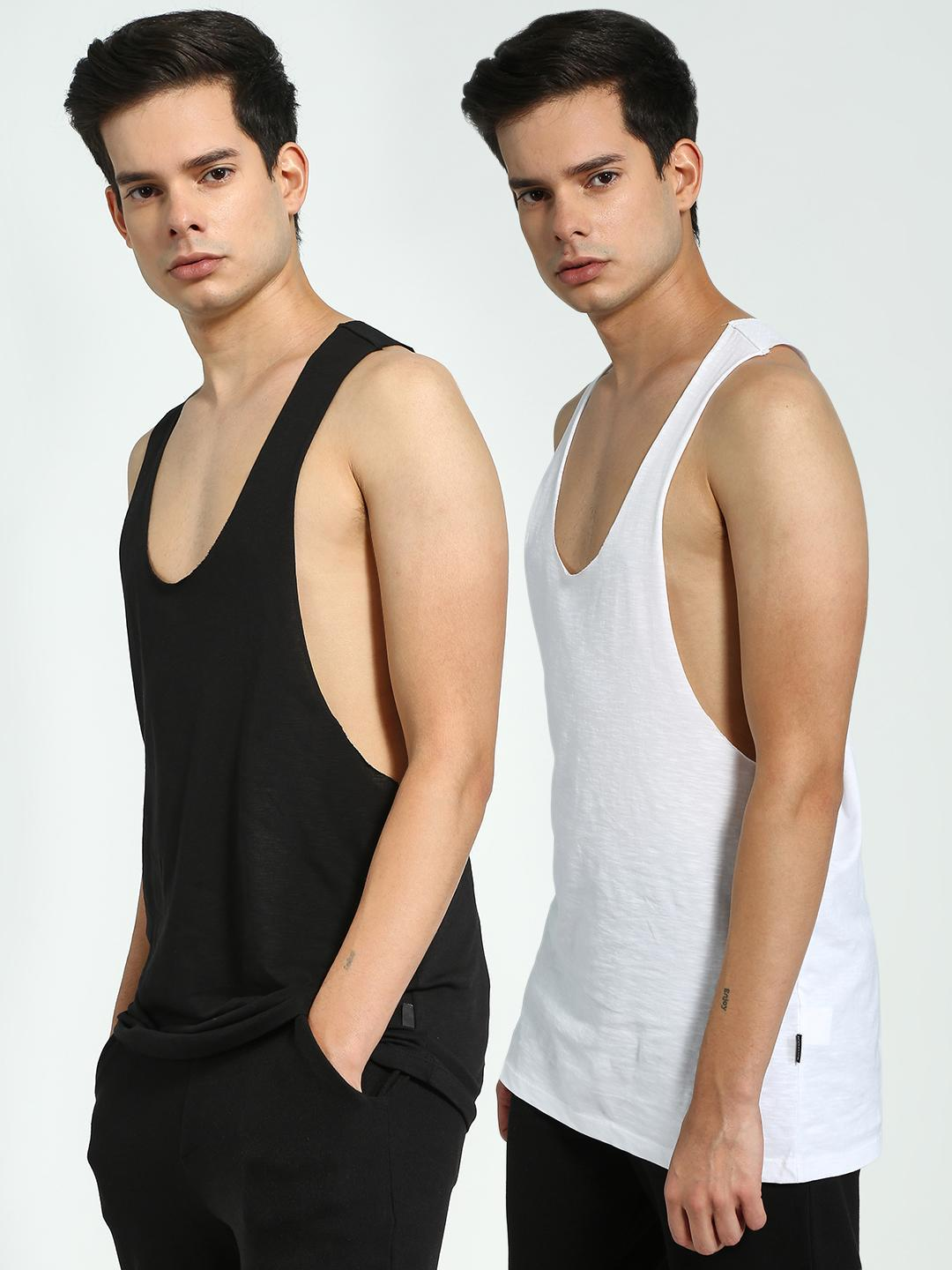 KOOVS Black/White Scoop Neck Racerback Vest (Pack Of 2) 1
