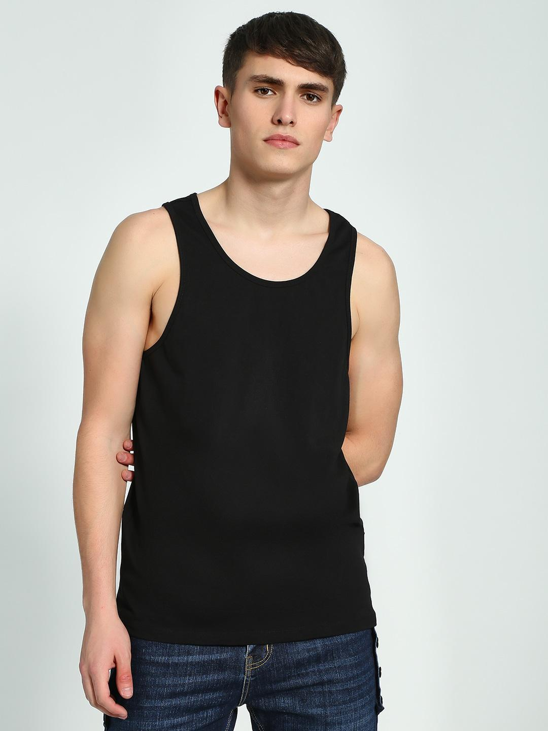 KOOVS Black Classic Scoop Neck Vest 1