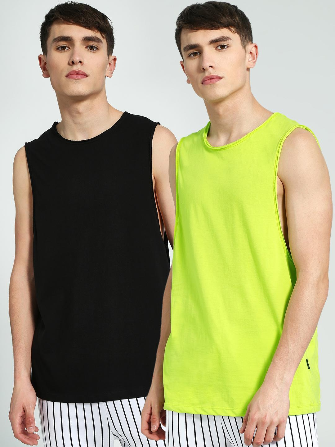 KOOVS Black/Green Round Neck Vest (Pack Of 2) 1