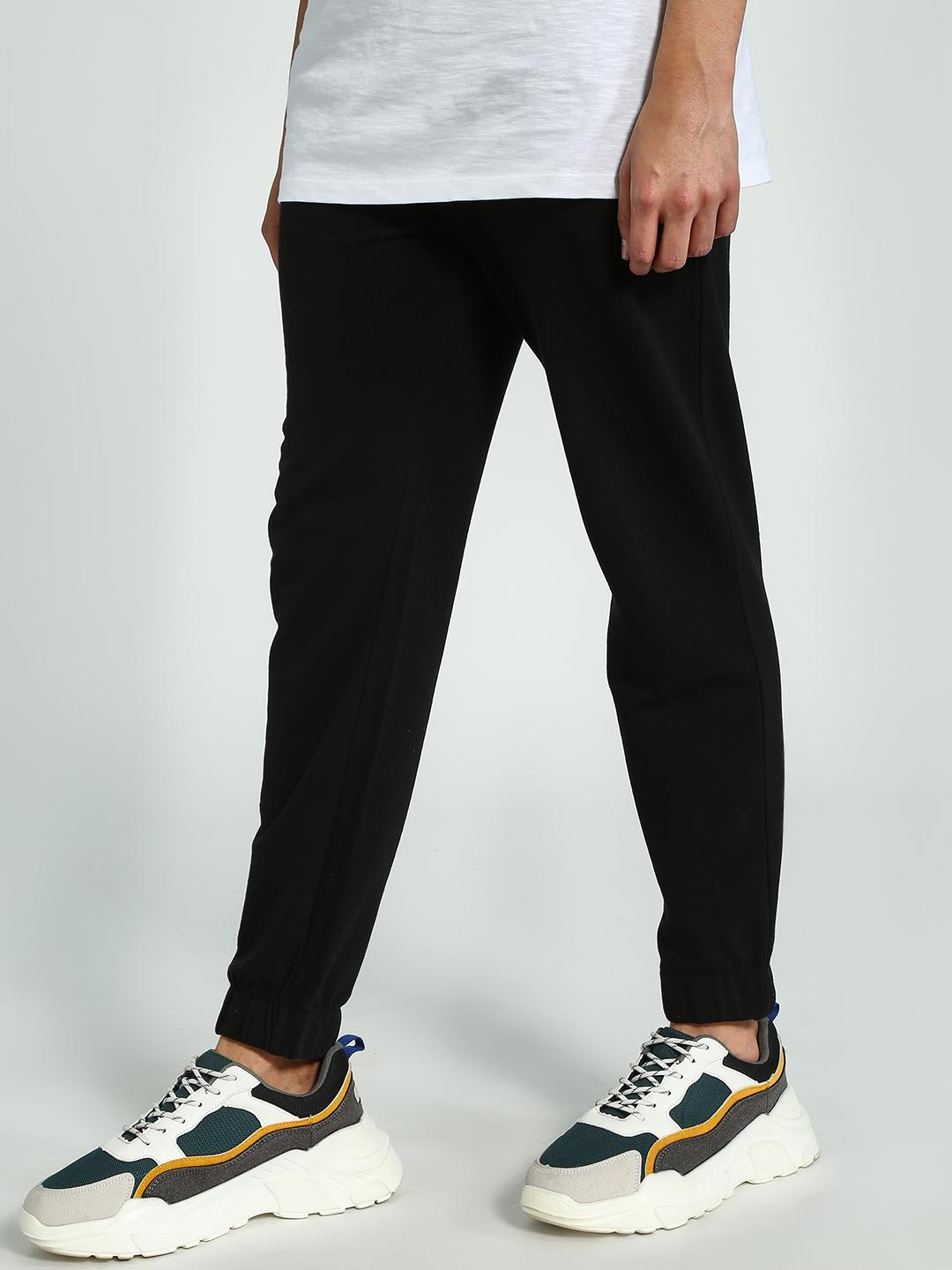 KOOVS Black Slim Fit Joggers 1