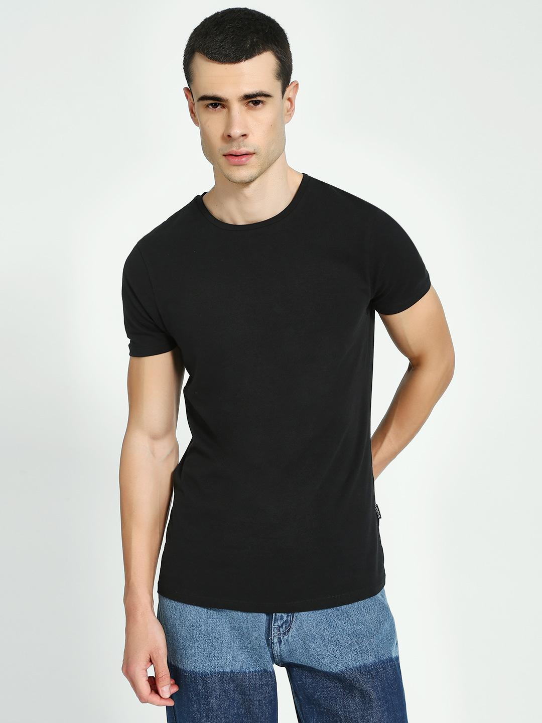 KOOVS Black Muscle Fit Crew Neck T-Shirt 1