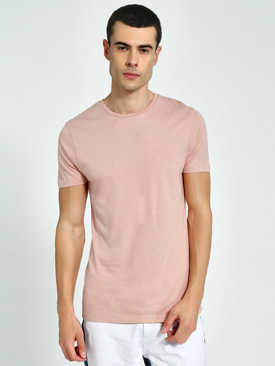 KOOVS Pink Muscle Fit Crew Neck T-Shirt 1