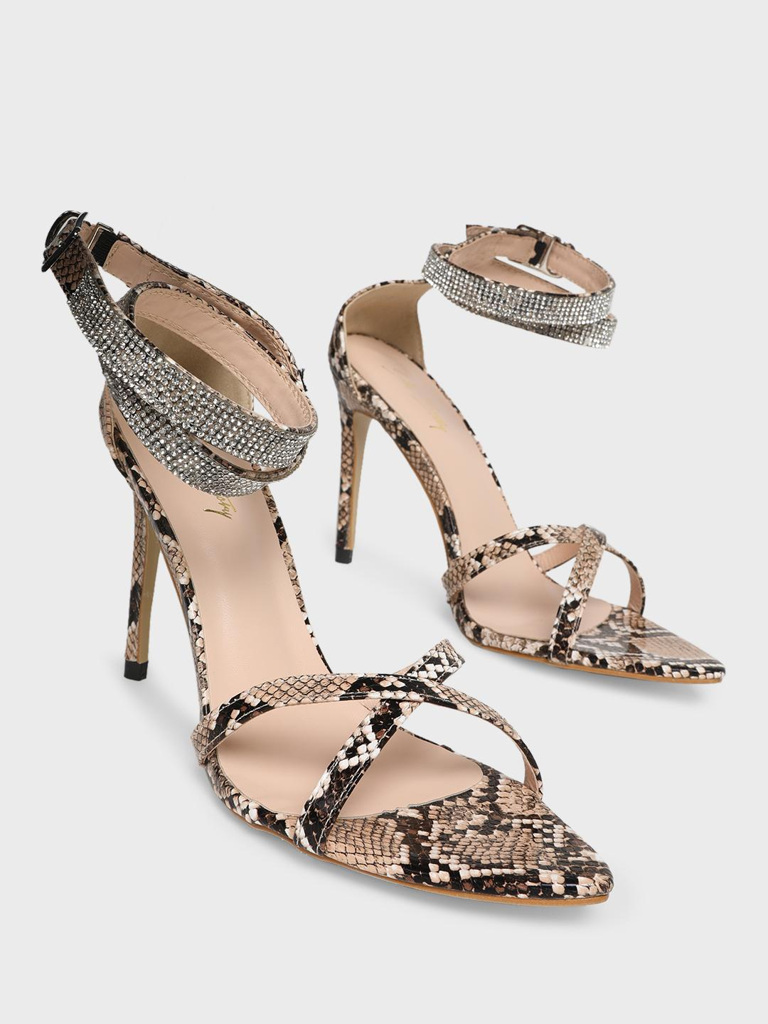 Sole Story Cream Diamante Embellished Snakeskin Print Heeled Sandals 1