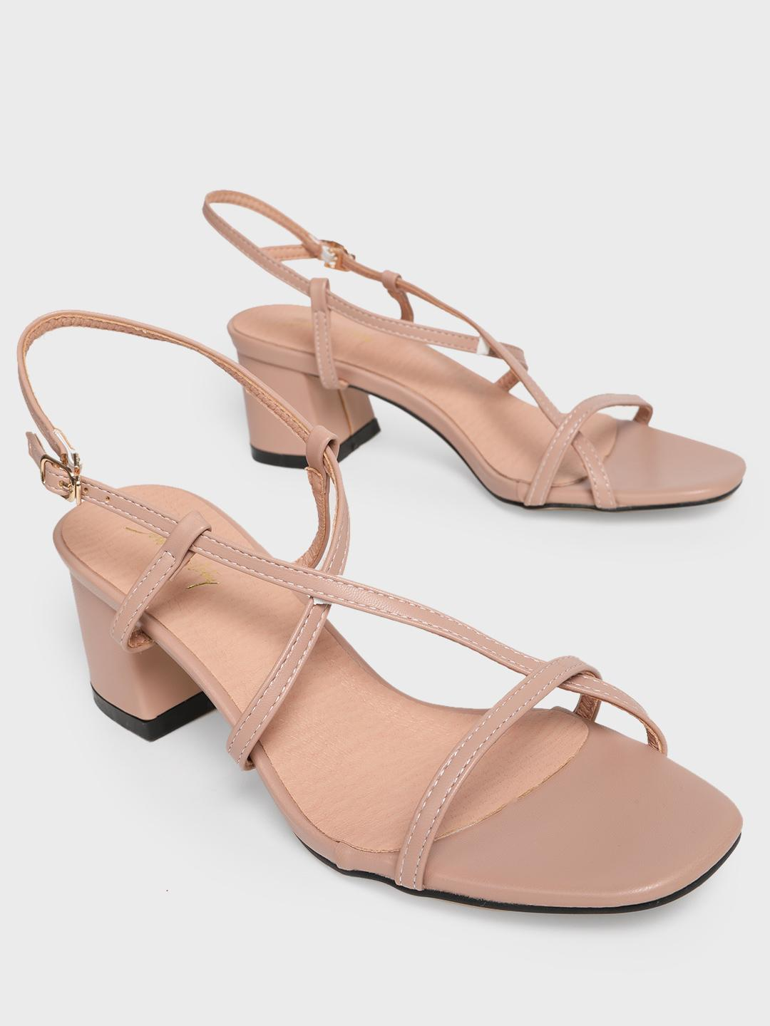 Sole Story Pink Strappy Block Heeled Sandals 1