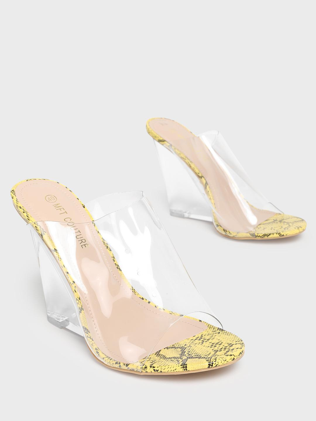 MFT Couture Yellow MY FOOT COUTURE Perspex Strap Clear Wedges 1