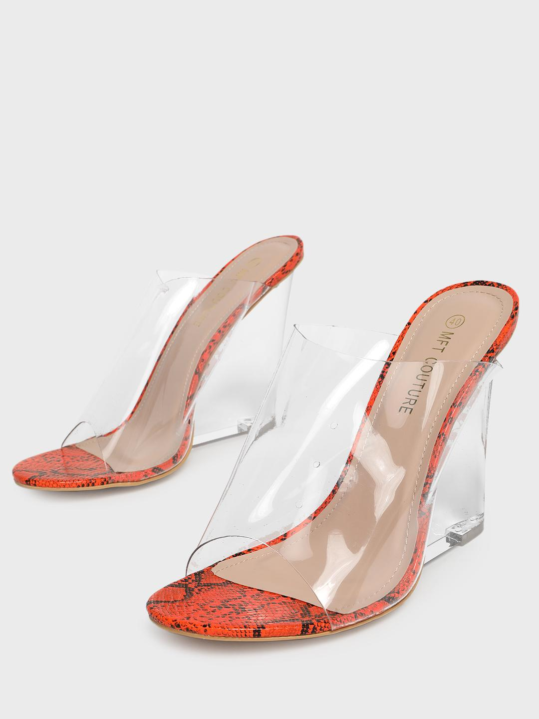 MFT Couture Orange MY FOOT COUTURE Perspex Strap Clear Wedges 1