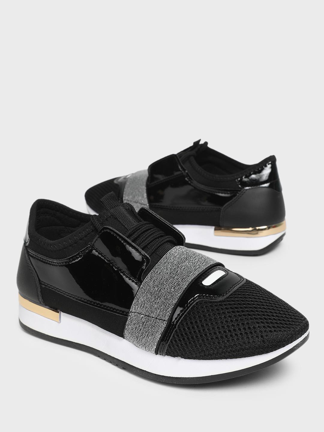 KOOVS Black Lace-Up Metal Detail Patent Sneakers 1