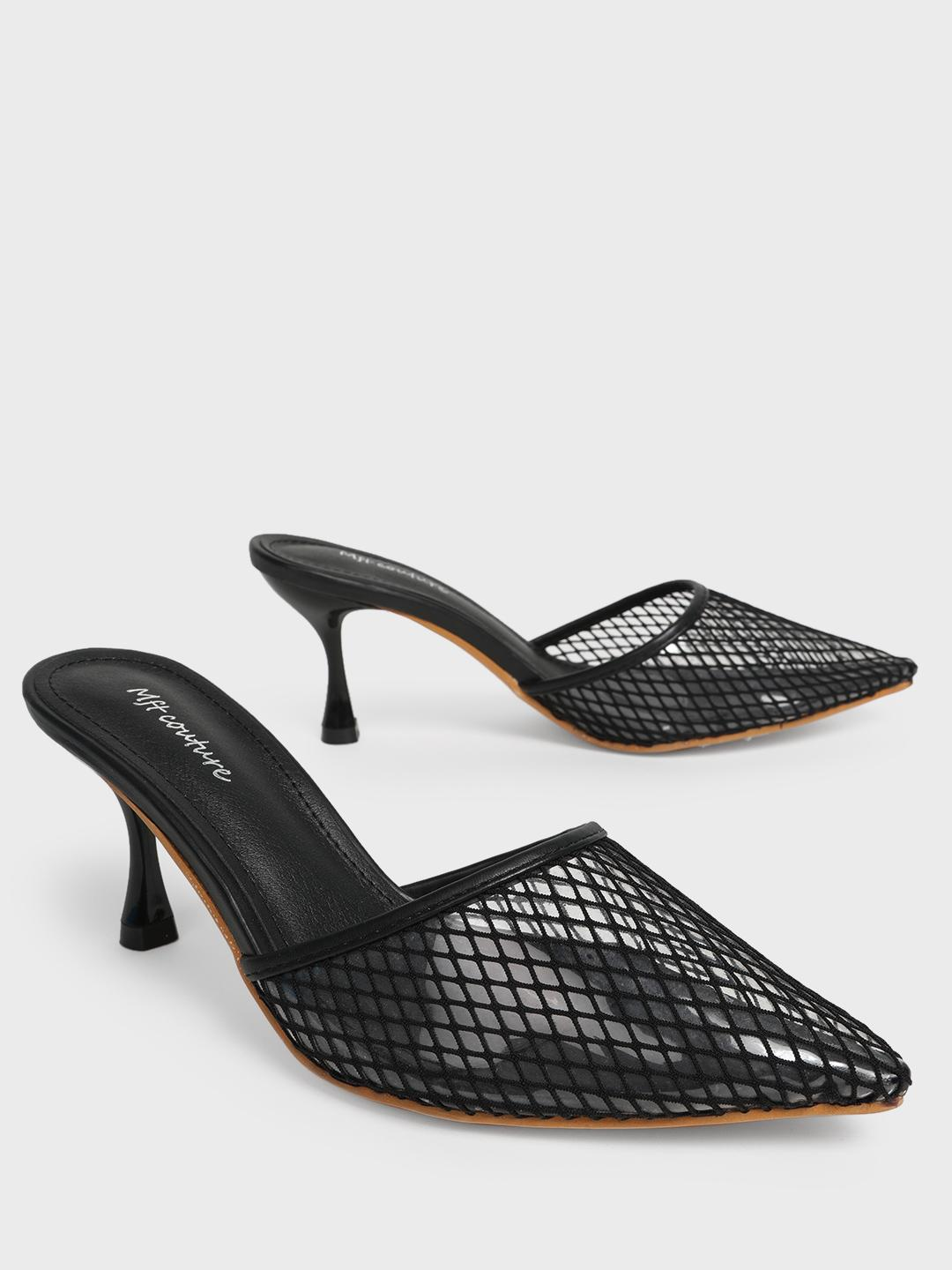 MFT Couture Black MY FOOT COUTURE Mesh Pointed Toe Heeled Mules 1