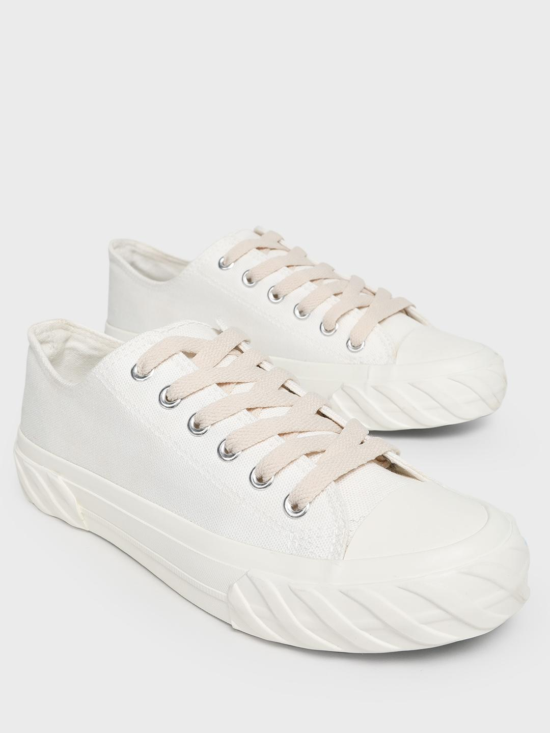 Sole Story White Canvas Lace-Up Flatform Sneakers 1