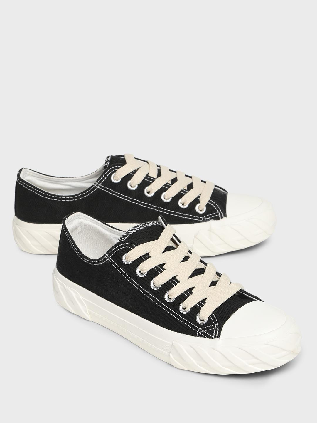 Sole Story Black Canvas Lace-Up Flatform Sneakers 1