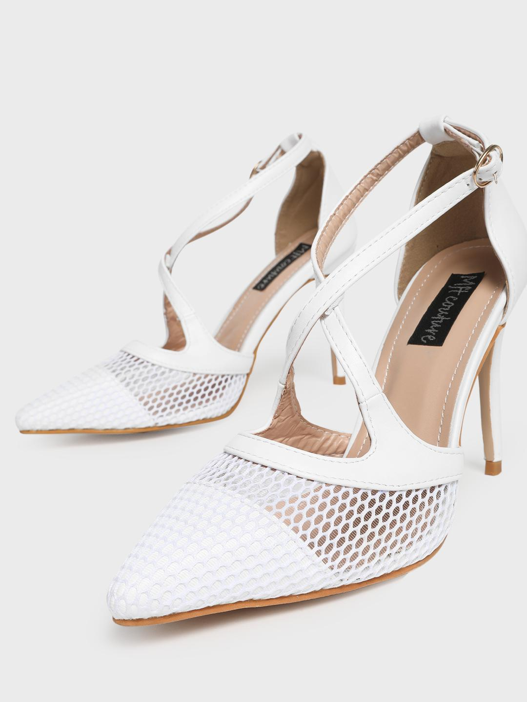 MFT Couture White MY FOOT COUTURE Cross Strap Mesh Heeled Pumps 1