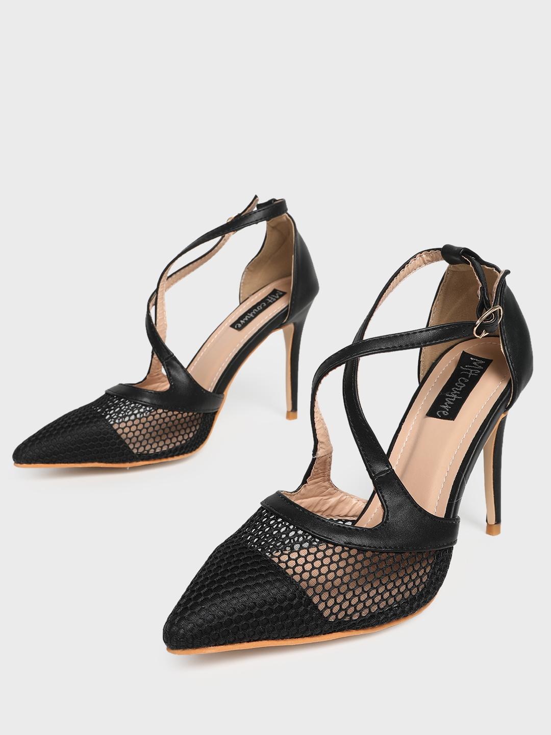 MFT Couture Black MY FOOT COUTURE Cross Strap Mesh Heeled Pumps 1