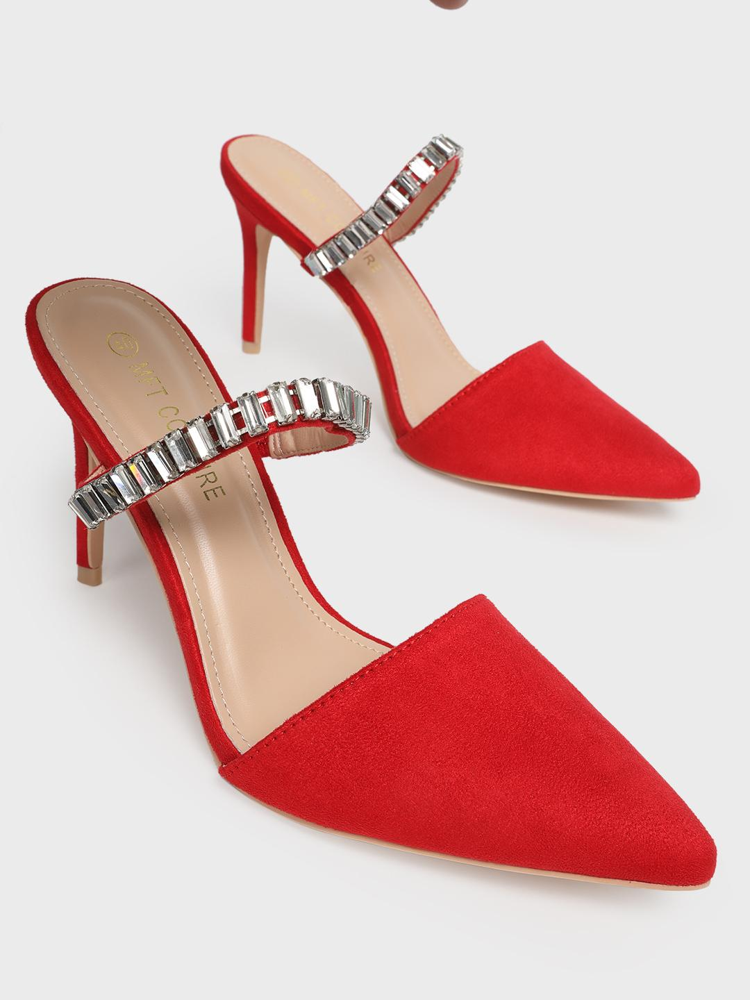 MFT Couture Red MY FOOT COUTURE Embellished Strap Heeled Mules 1