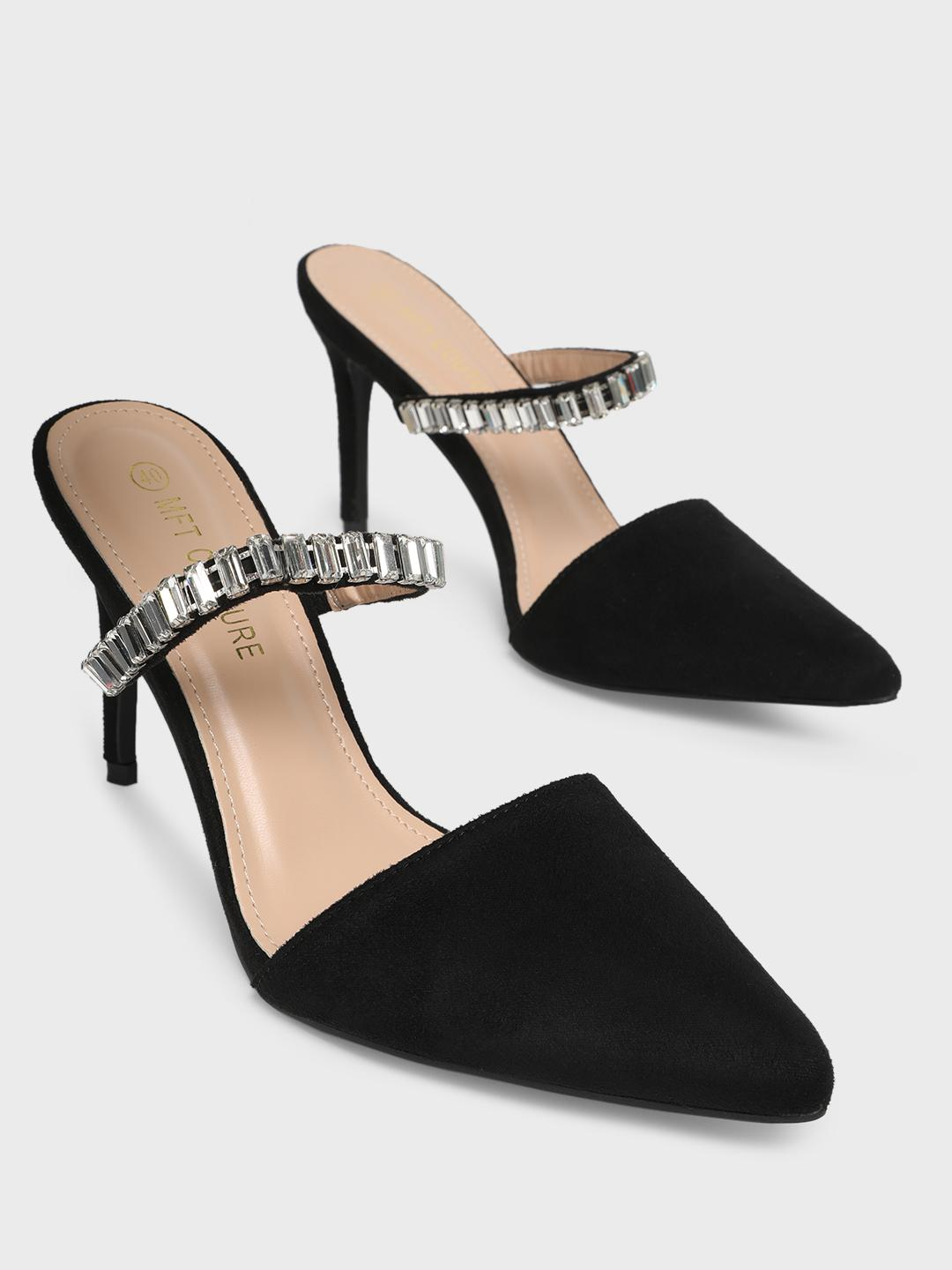 MFT Couture Black MY FOOT COUTURE Embellished Strap Heeled Mules 1