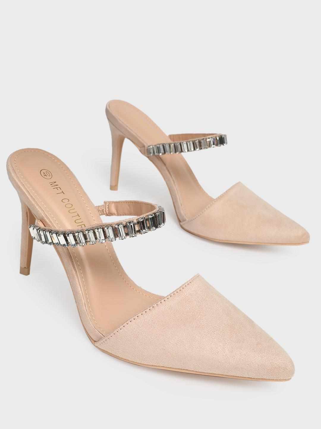 MFT Couture Nude MY FOOT COUTURE Embellished Strap Heeled Mules 1