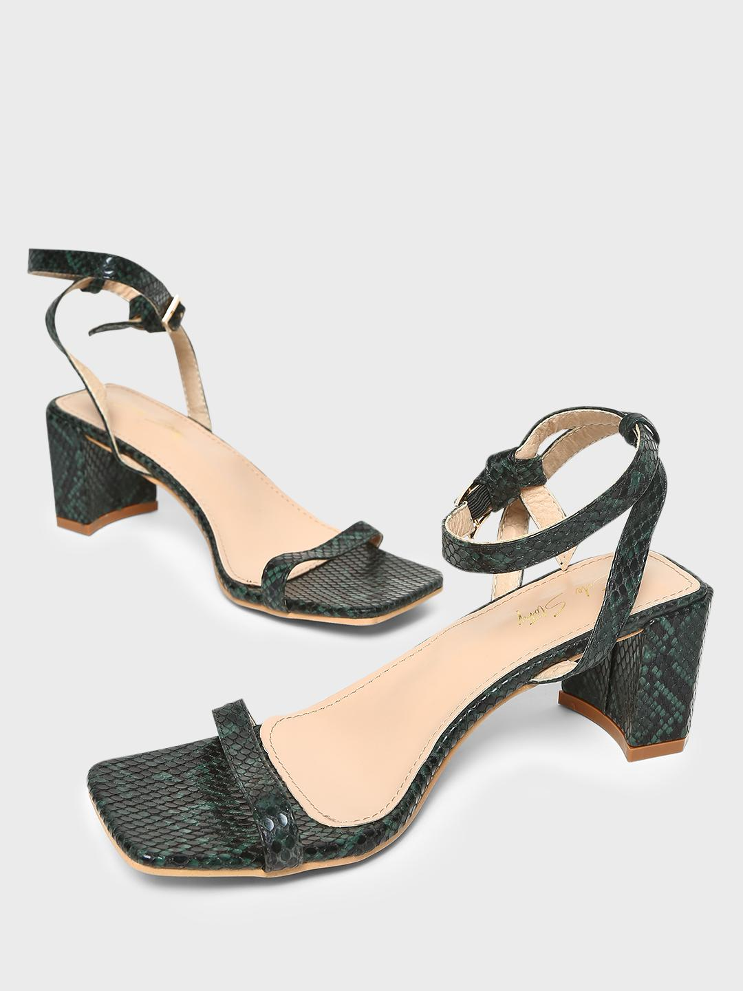 Sole Story Green Snakeskin Print Block Heeled Sandals 1