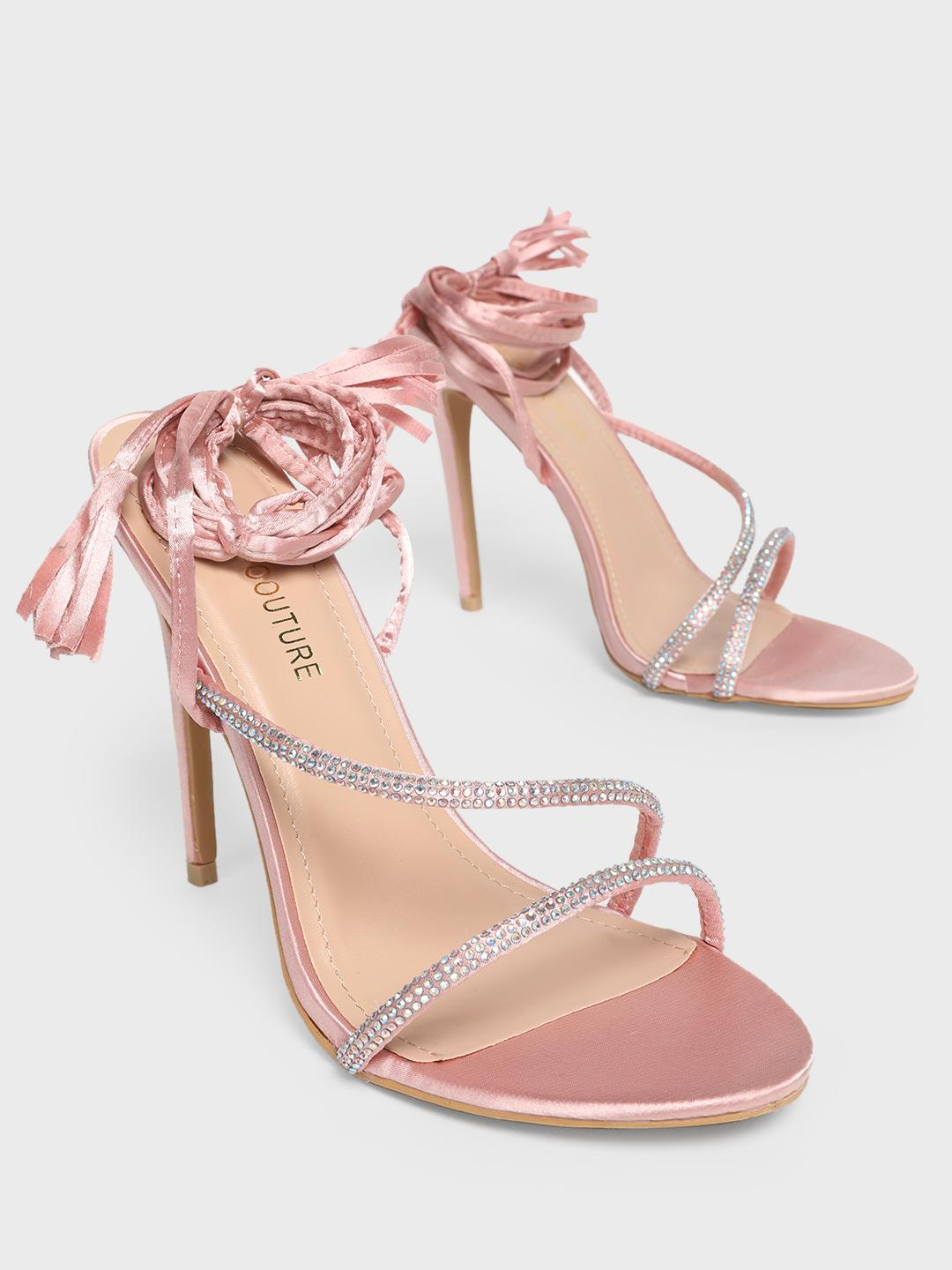 MFT Couture Pink MY FOOT COUTURE Strappy Tie-Up Embellished Heeled Sandals 1