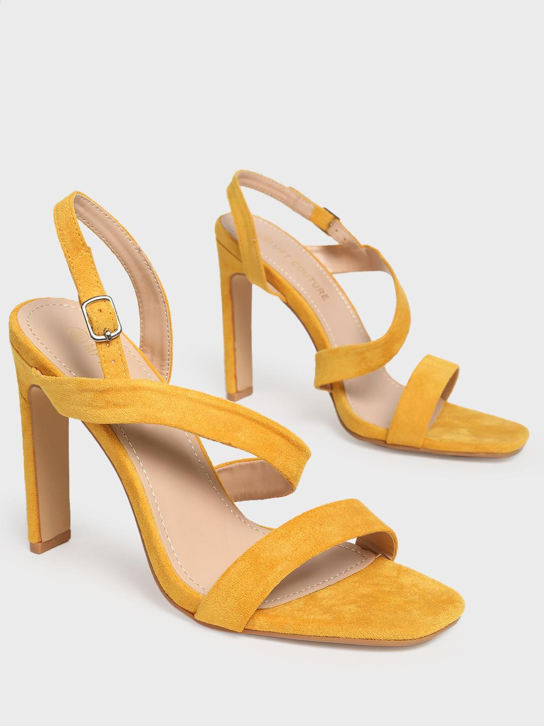 MFT Couture Yellow MY FOOT COUTURE Asymmetric Strap Heeled Sandals 1