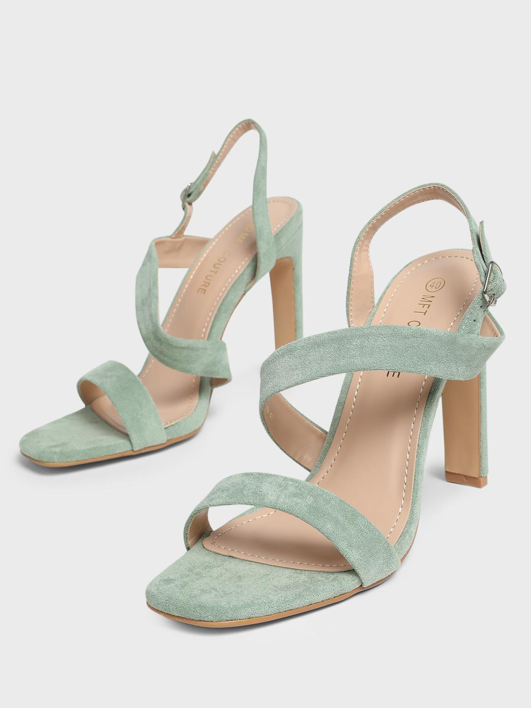MFT Couture Green MY FOOT COUTURE Asymmetric Strap Heeled Sandals 1