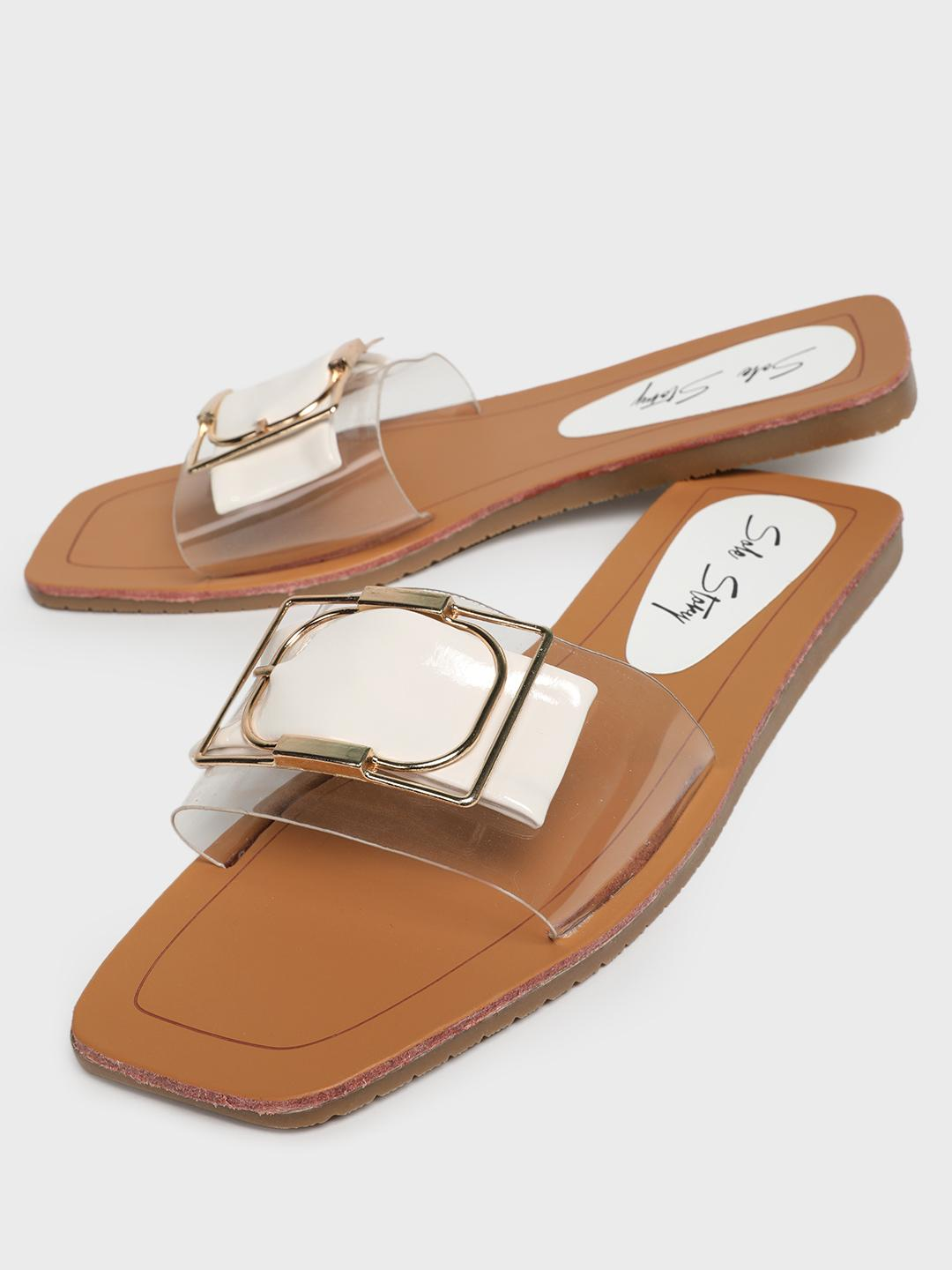 Sole Story White Perspex Buckle Strap Flat Sandals 1