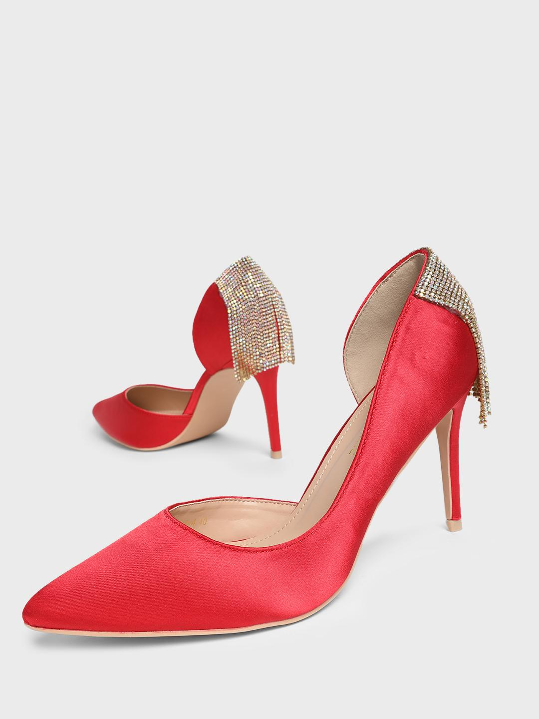 MFT Couture Red MY FOOT COUTURE Back Embellished Heeled Pumps 1