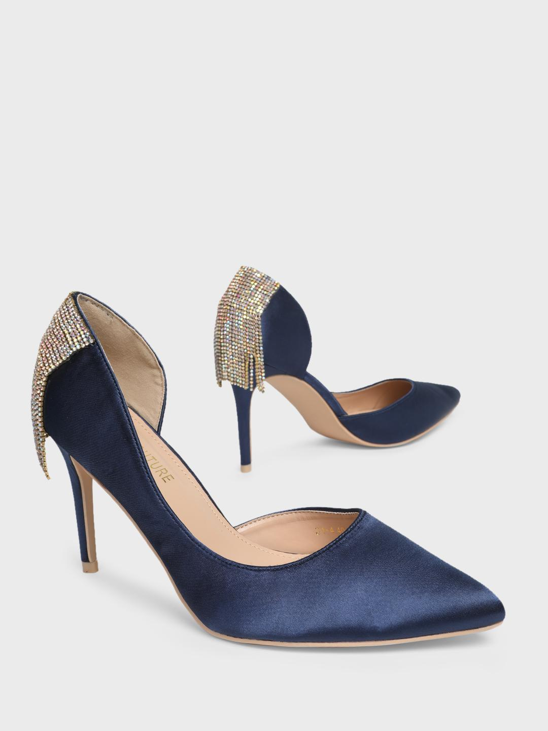 MFT Couture Blue MY FOOT COUTURE Back Embellished Heeled Pumps 1