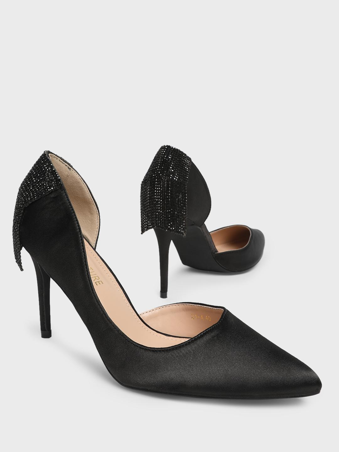 MFT Couture Black MY FOOT COUTURE Back Embellished Heeled Pumps 1
