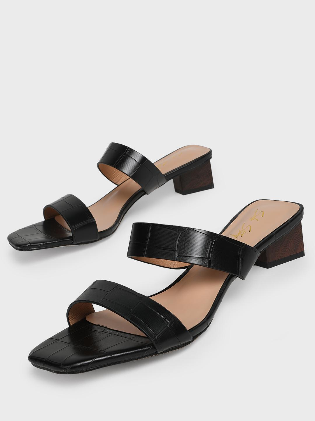 Sole Story Black Double Strap Block Heeled Sandals 1