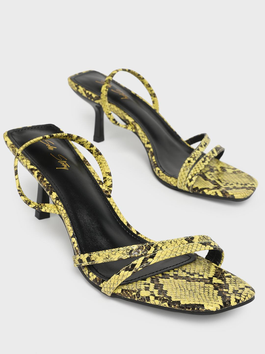 Sole Story Yellow Snakeskin Print Strappy Heeled Sandals 1