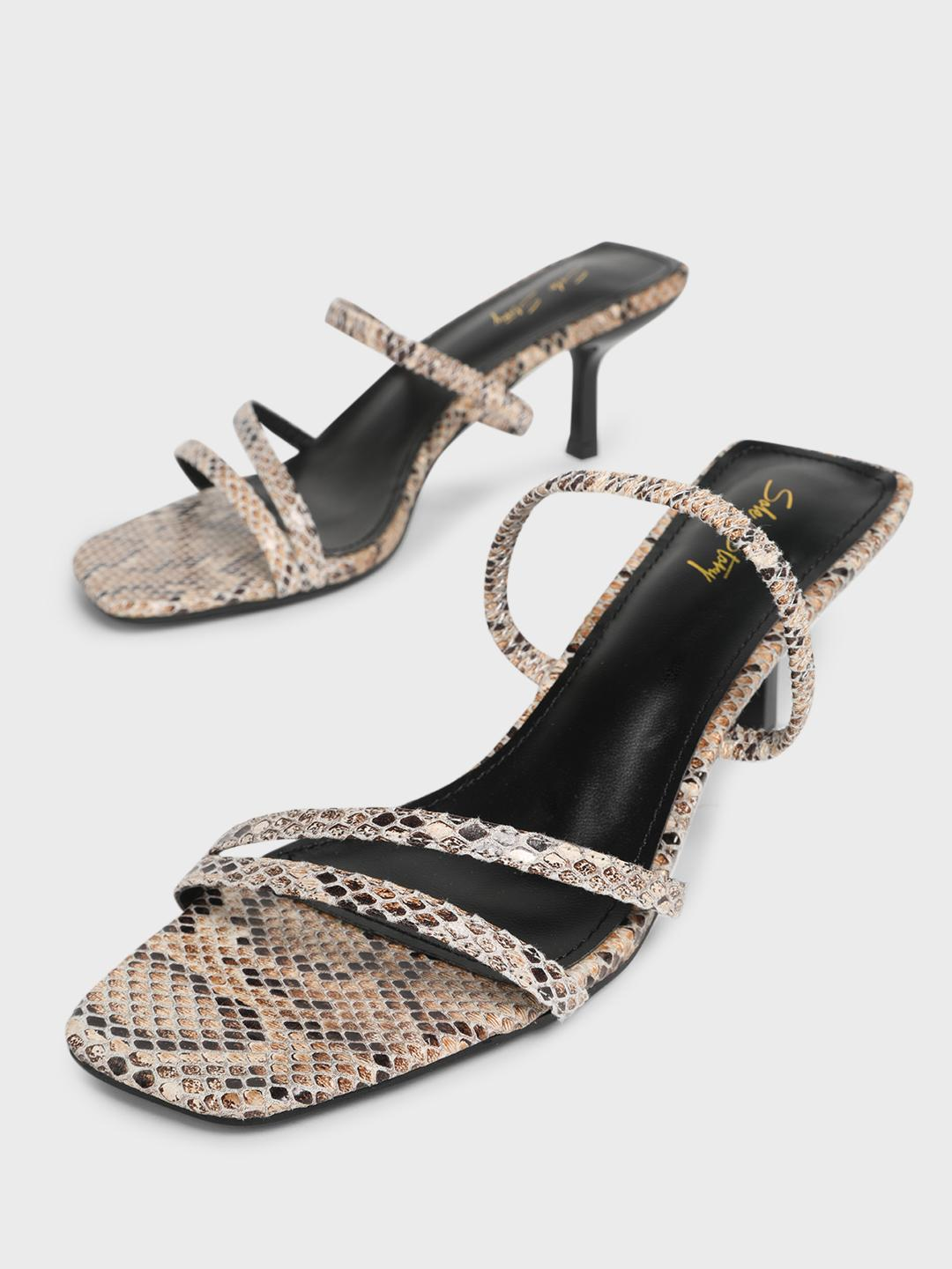 Sole Story Beige Snakeskin Print Strappy Heeled Sandals 1