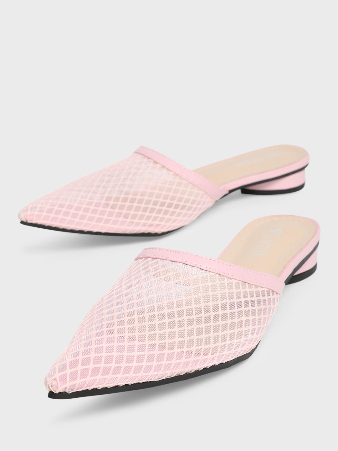 MFT Couture Pink MY FOOTCOUTURE Mesh Upper Flat Mules 1