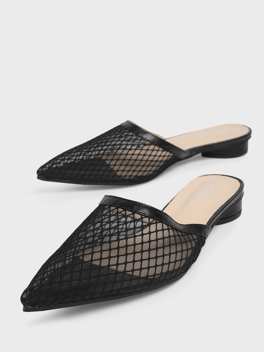 MFT Couture Black MY FOOT COUTURE Mesh Upper Flat Mules 1