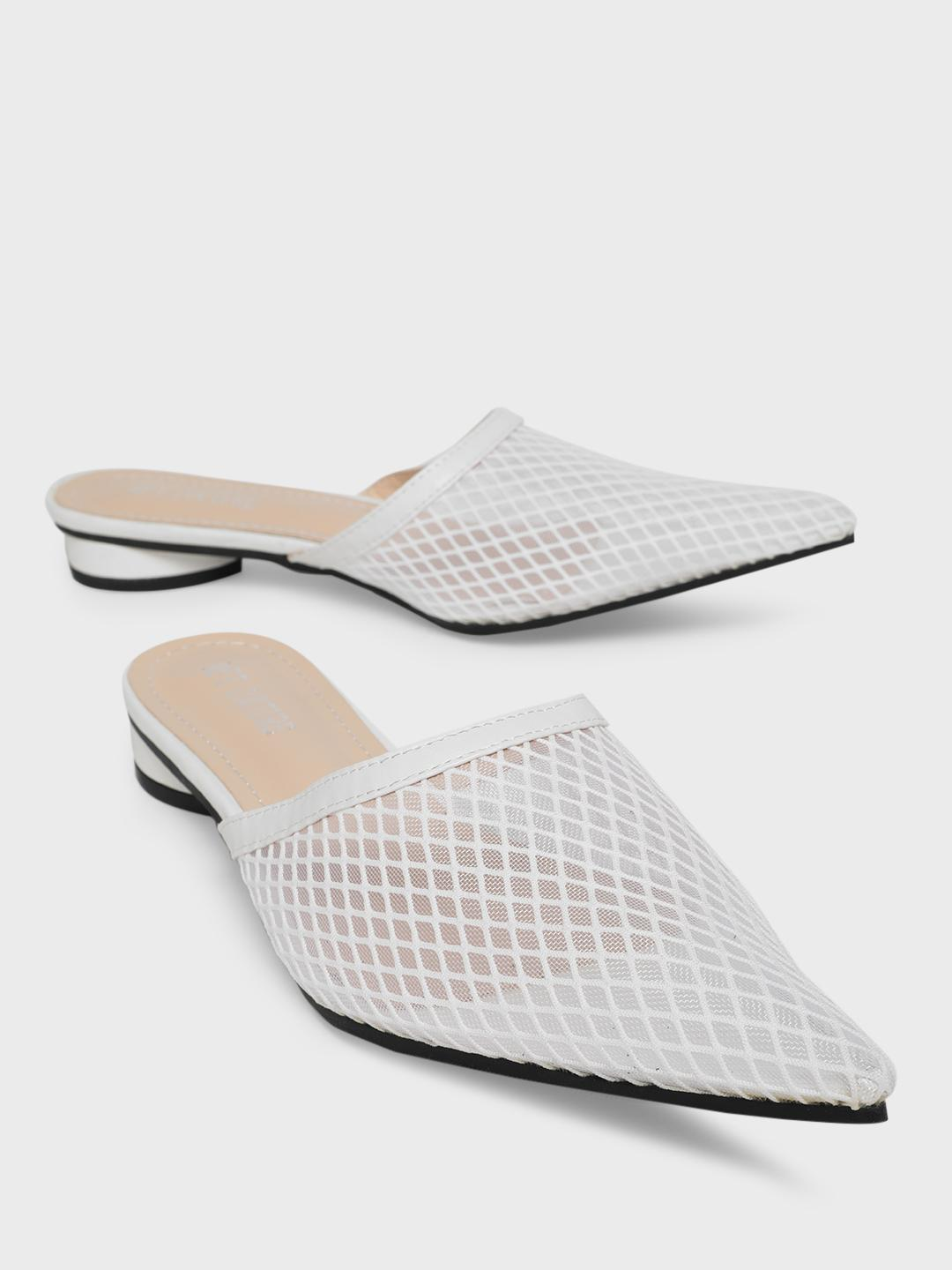 MFT Couture White MY FOOT COUTURE Mesh Upper Flat Mules 1
